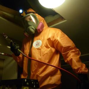Sewage Backup Technician Restoring a home