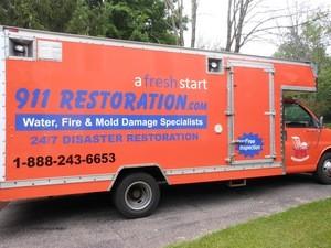 911 Restoration Maimi Valley Trucks at Sewage Backup Job Location