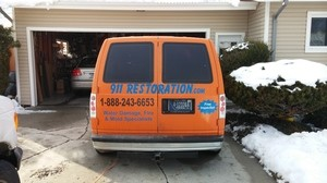 911 Restoration Miami Valley Fire Damage Restoration Truck at Job Location