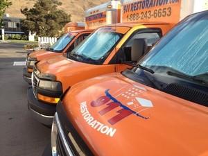 911 Restoration Miami Valley Trucks at Disaster Restoration Location