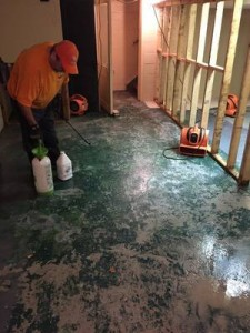 Water Damage Restoration Of Concrete Flooring In a Lebanon Home